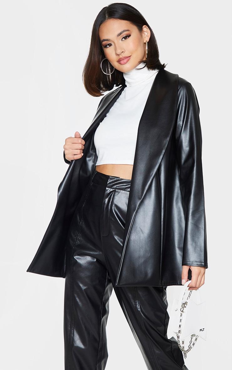 Black Drop Collar Faux Leather Blazer 1