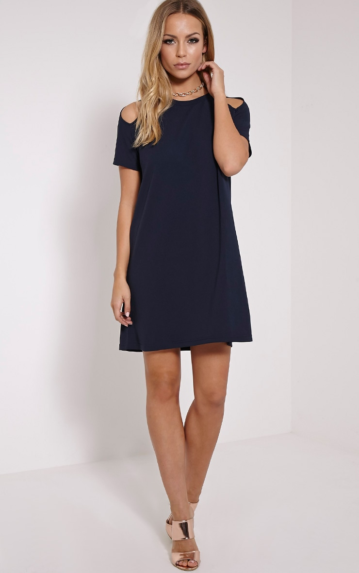 Sandie Navy Cold Shoulder Shift Dress 3