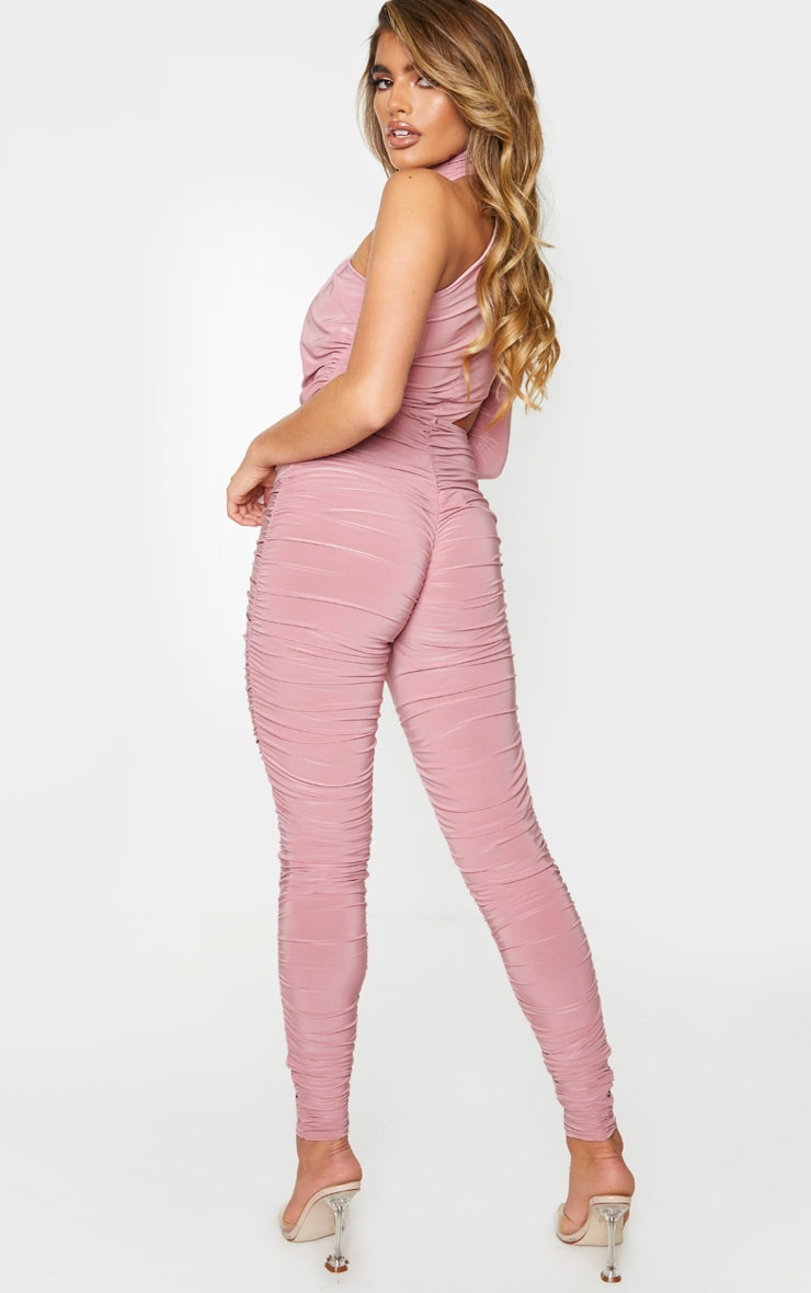 Baby Pink Ruched One Shoulder Jumpsuit 2
