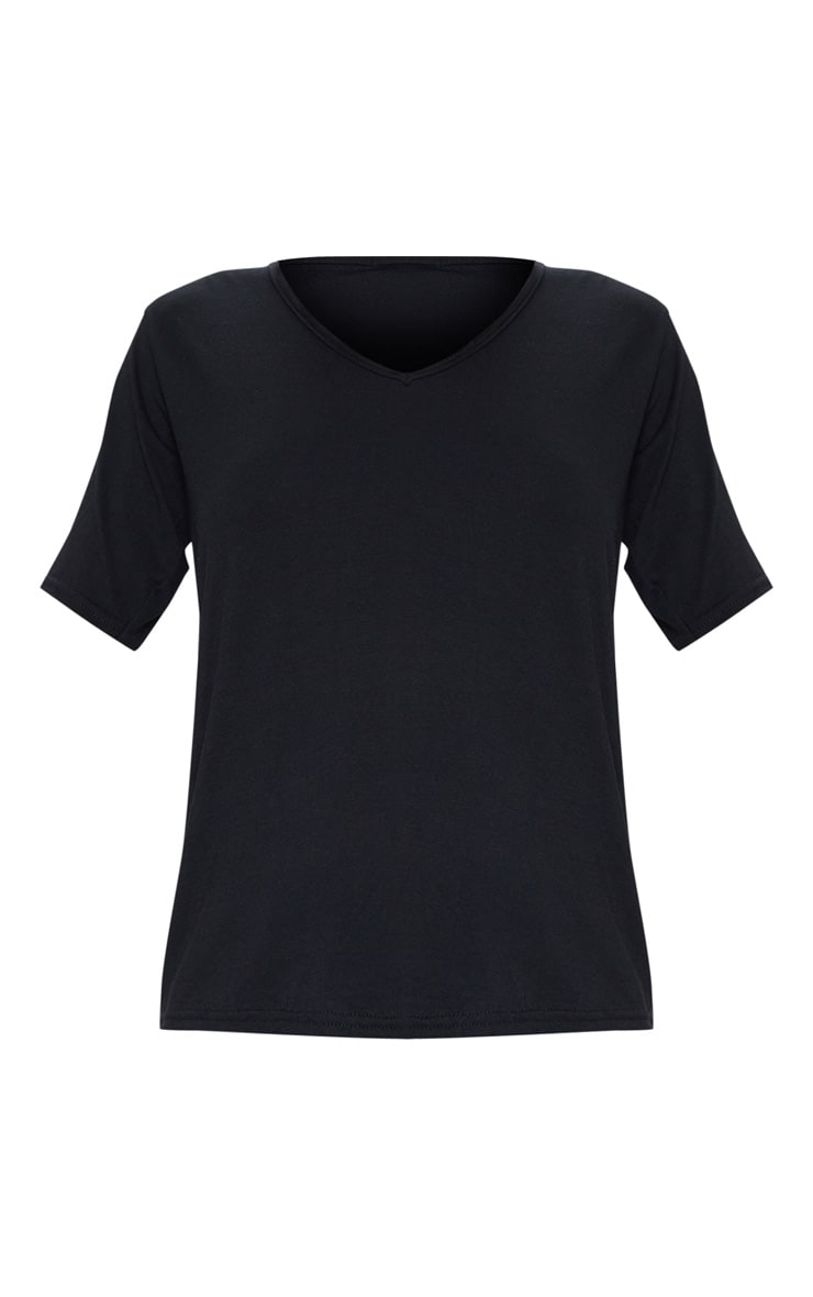 Basic Black V Neck T Shirt 4