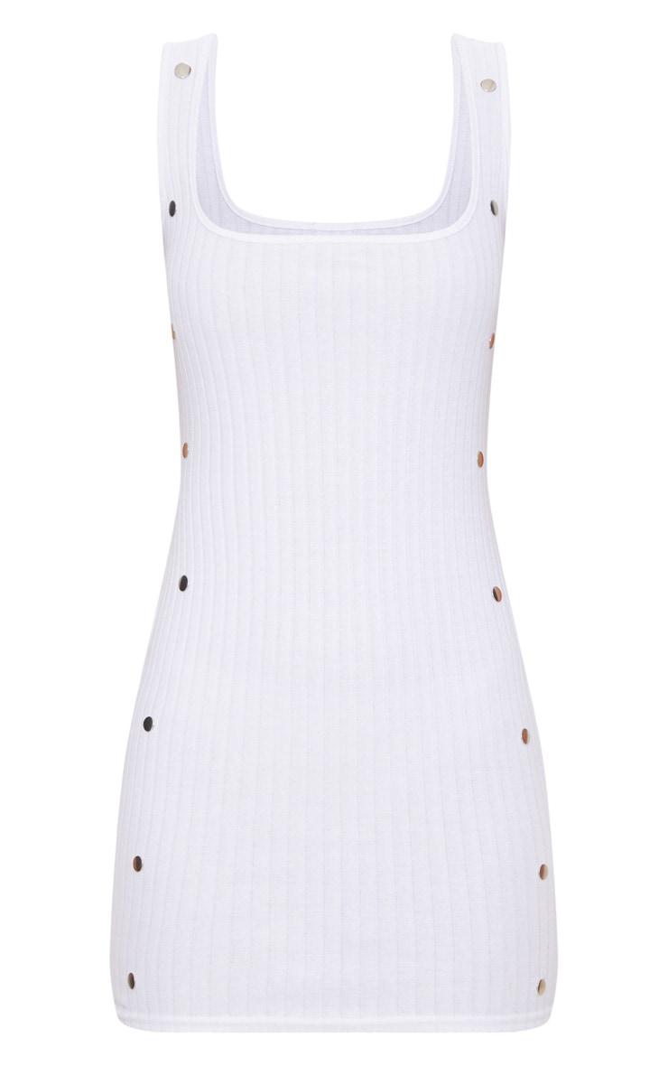 White Ribbed Bodycon Dress  3