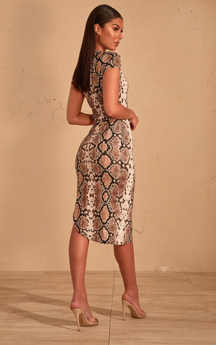 Beige Snake Print Extreme Split Cap Sleeve Midi Dress 2