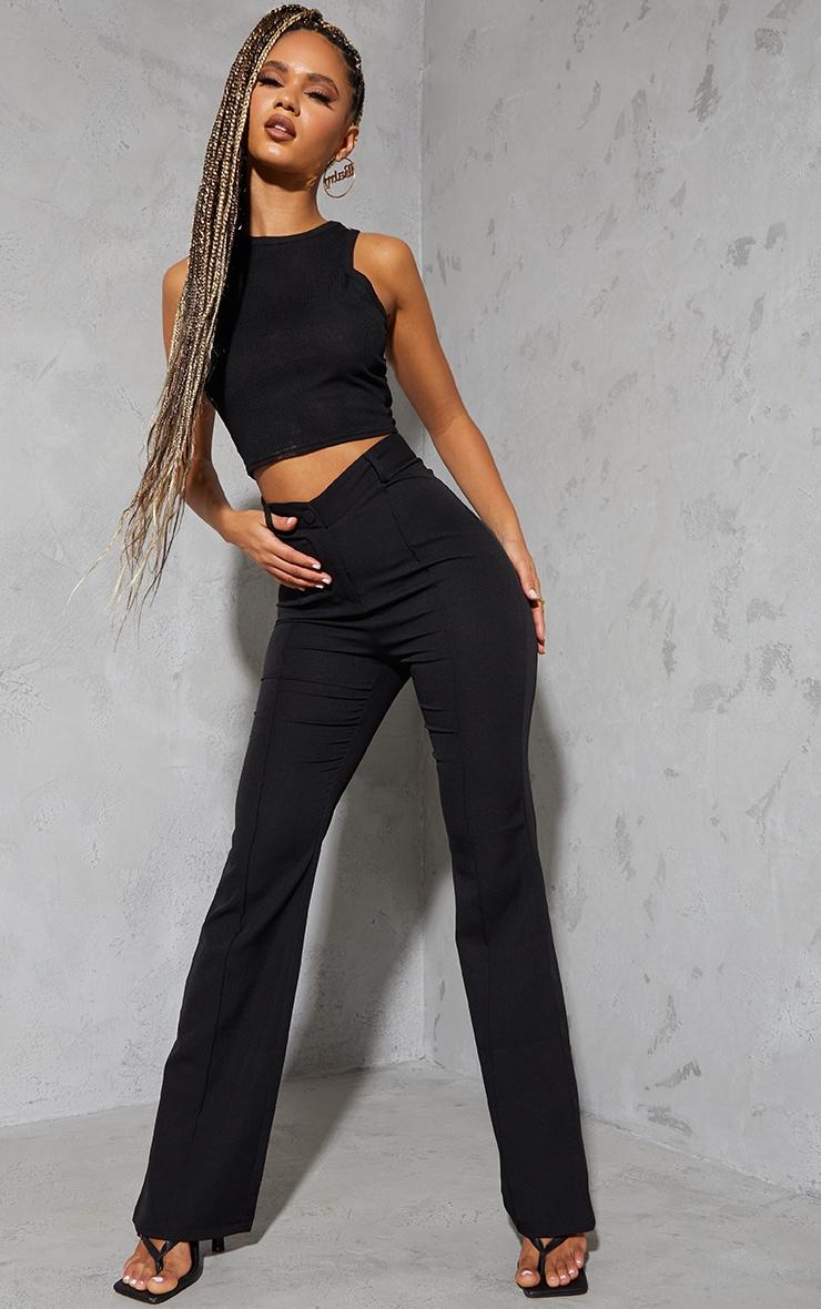 Black Woven V Front Pintuck Wide Leg Pants 1