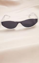 Grey Marble Slimline Round Frame Sunglasses 2