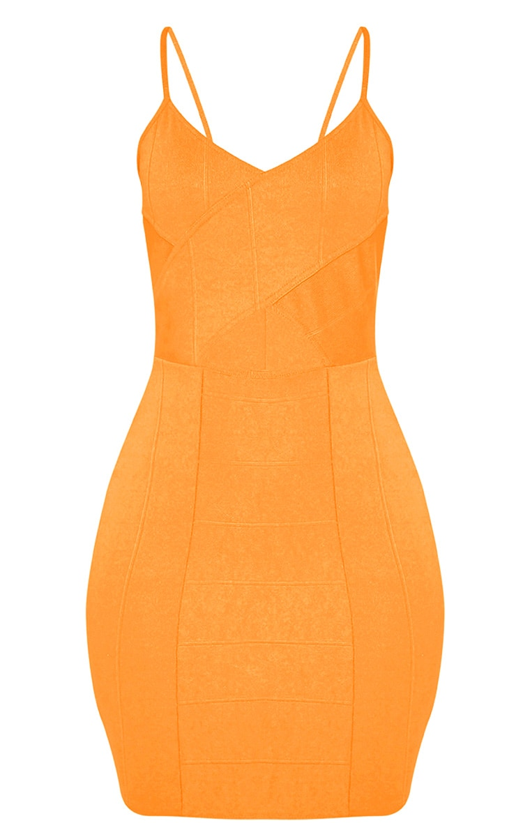 Sasia Bright Orange Cross Front Bandage Mini Dress 3