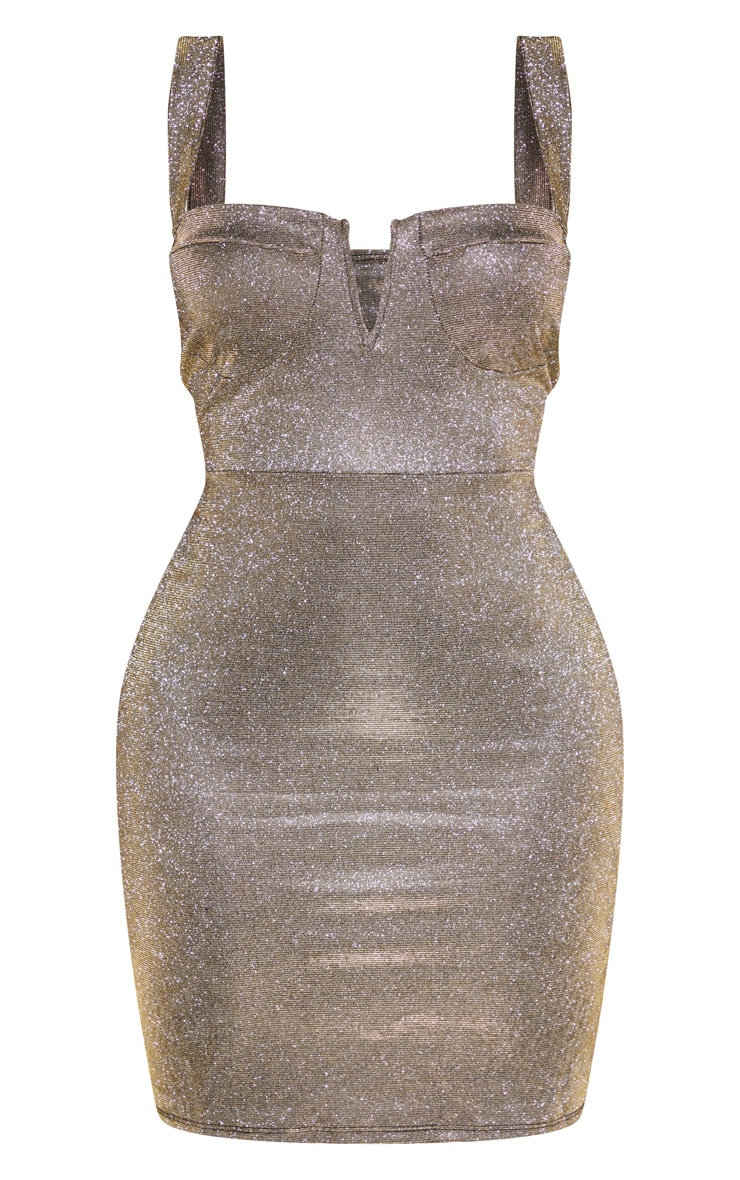 Shape Gold Glitter Cup Detail Bodycon Dress 3
