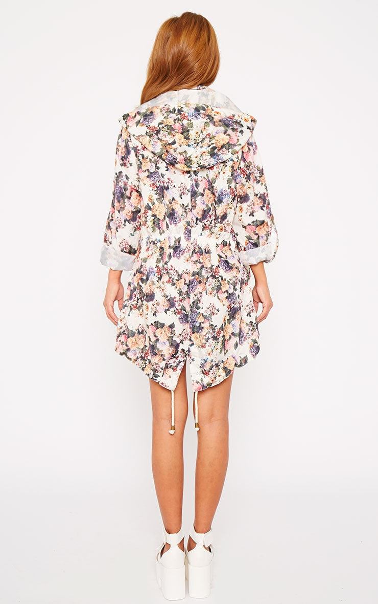 Renee Cream Floral Print Raincoat 2