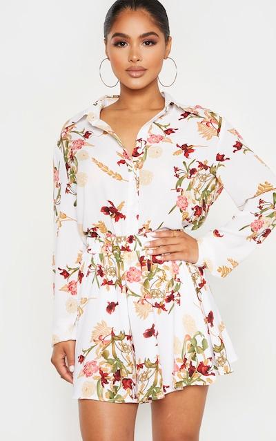 Petite White Oriental Shirt