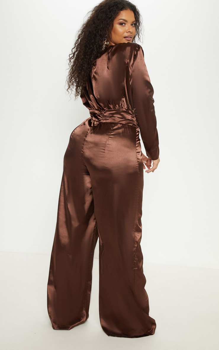 Plus Chocolate Brown Satin Ruched Waist Jumpsuit  2