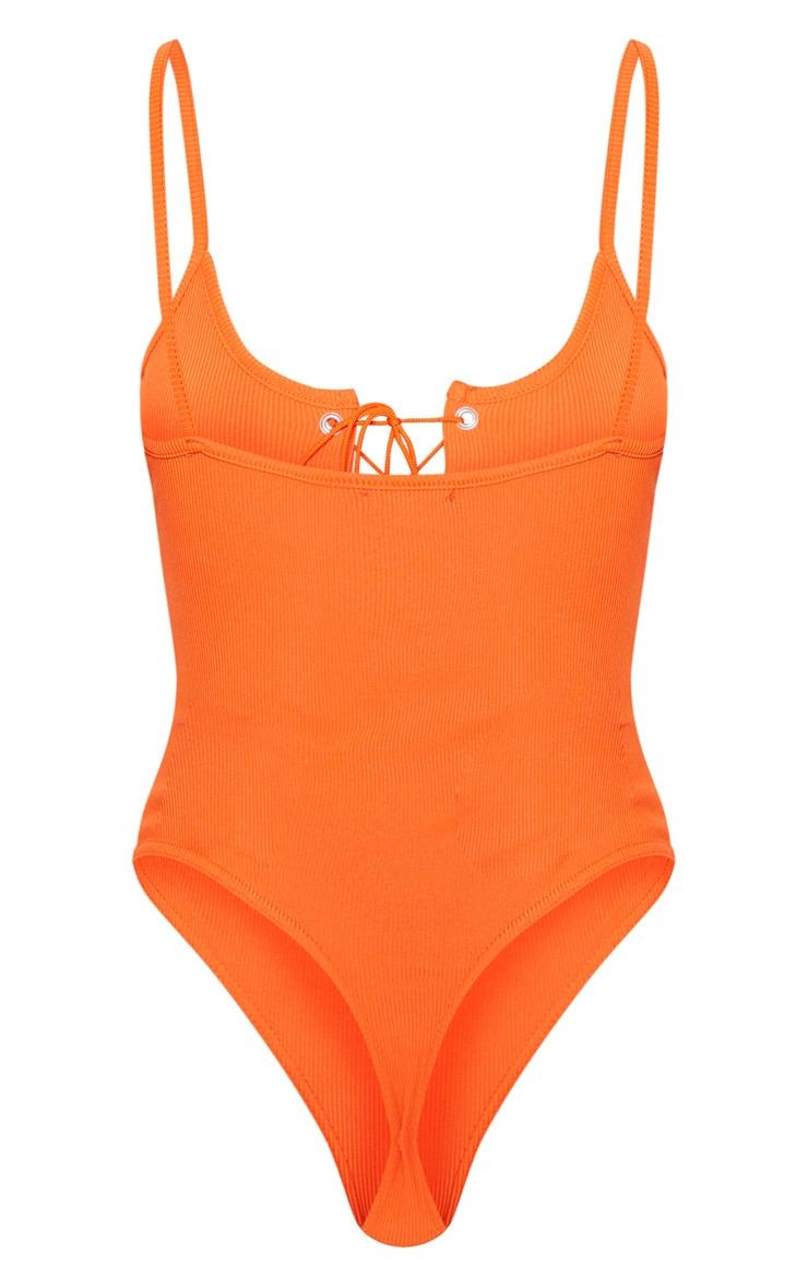 Orange Rib Lace Up Sleeveless Bodysuit 4