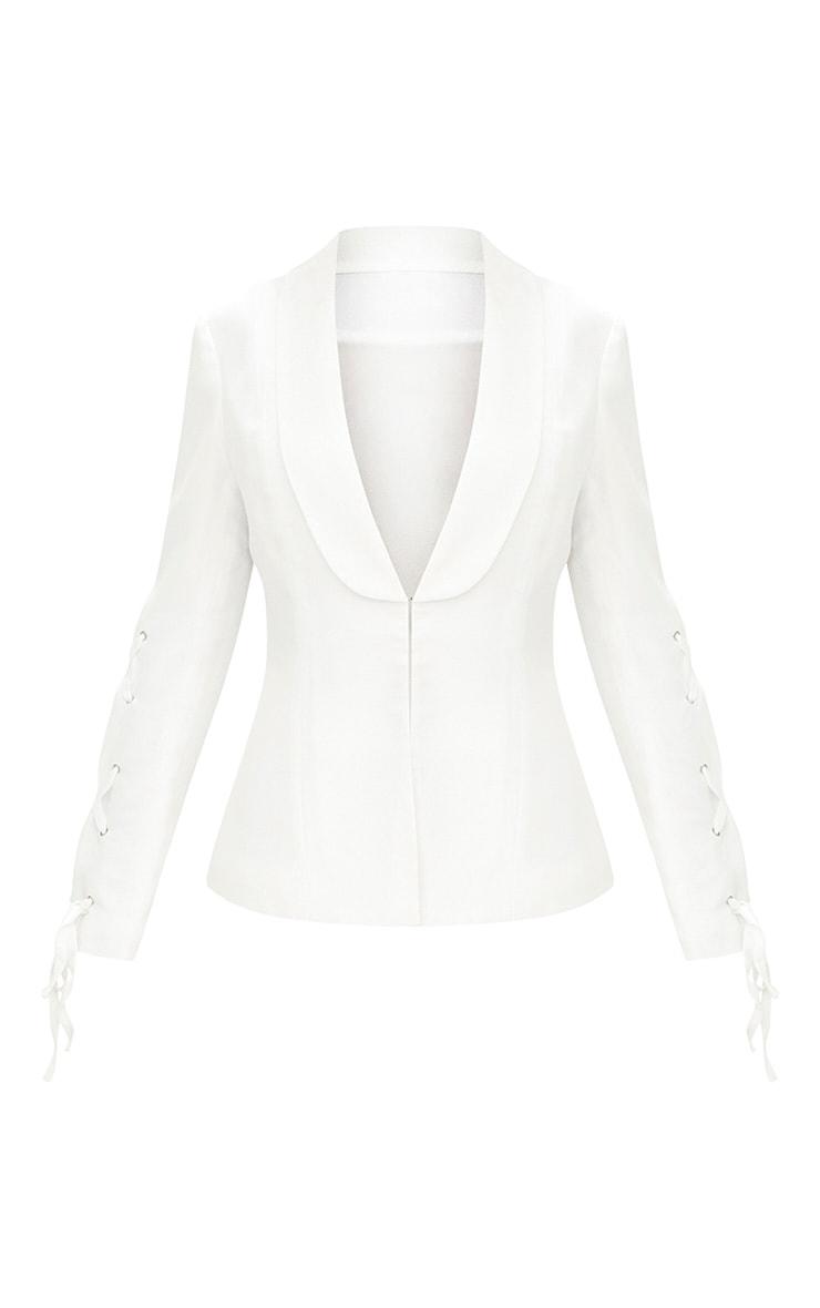 White Lace Up Sleeve Blazer 3
