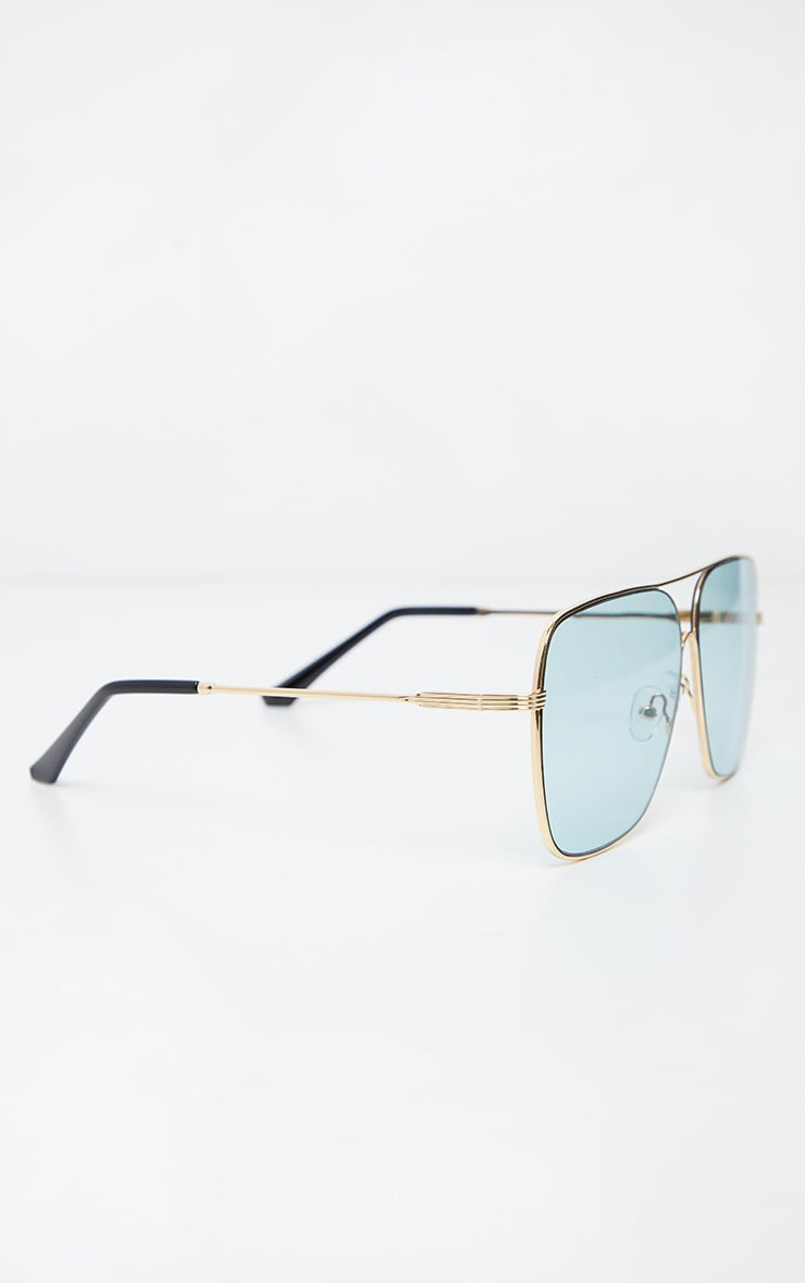 Blue Lens Metal Frame Retro Aviator Glasses 3