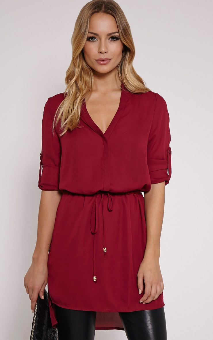 Sonora Wine Oversized Drawstring Shirt 1