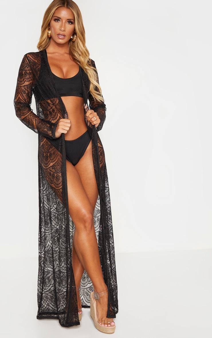 Kimono long en dentelle noire 1