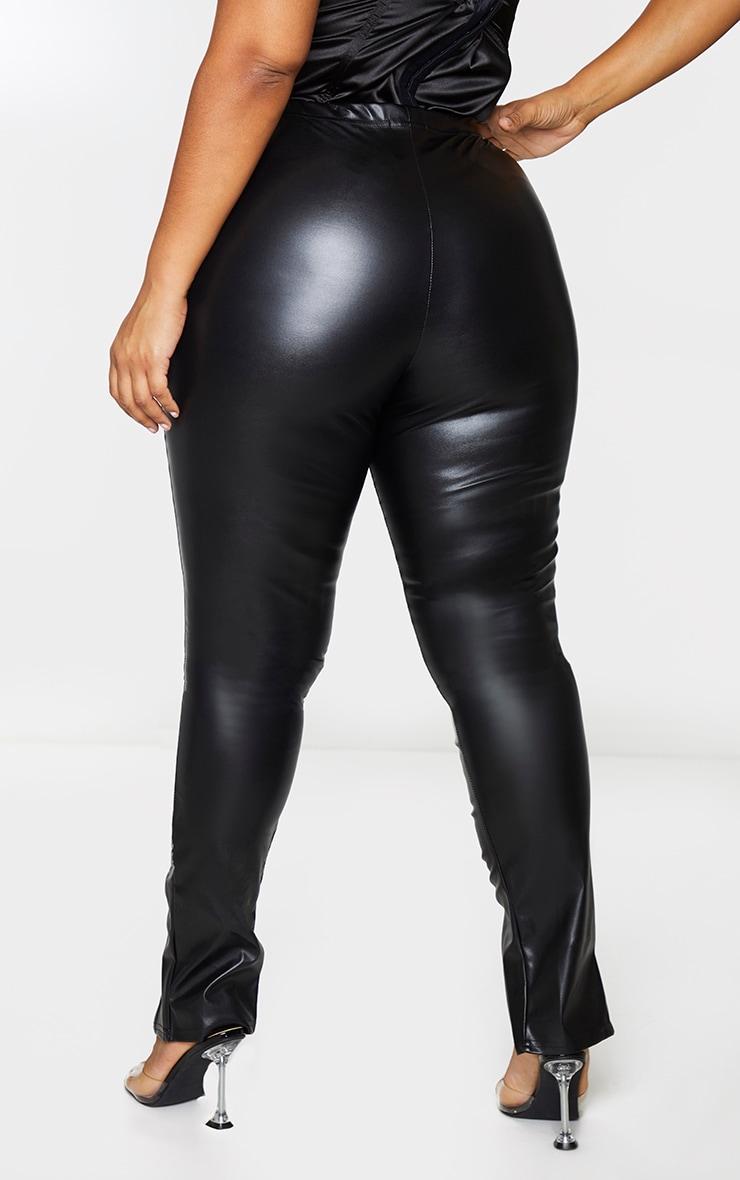 Plus Black PU Ruched Pants 3