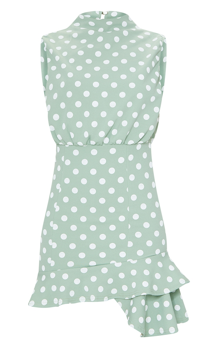 Sage Green Polka Dot High Neck Frill Hem Bodycon Dress 5