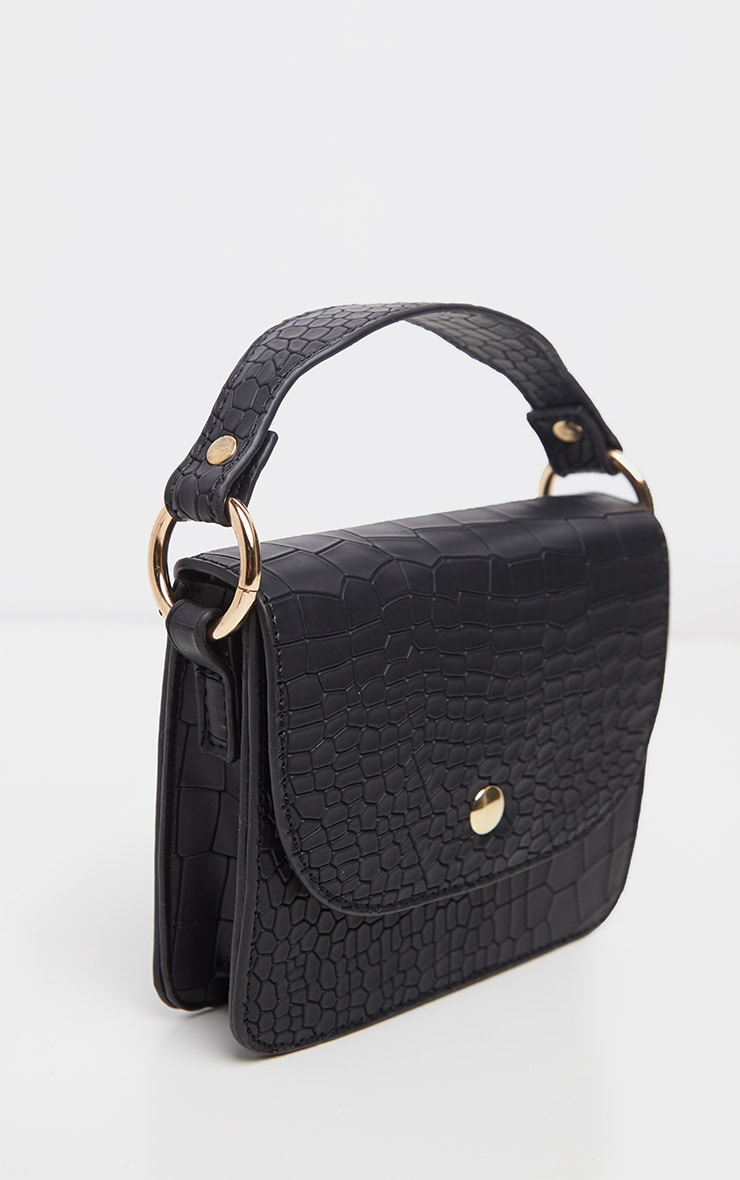 Black Croc Square Mini Bag 3