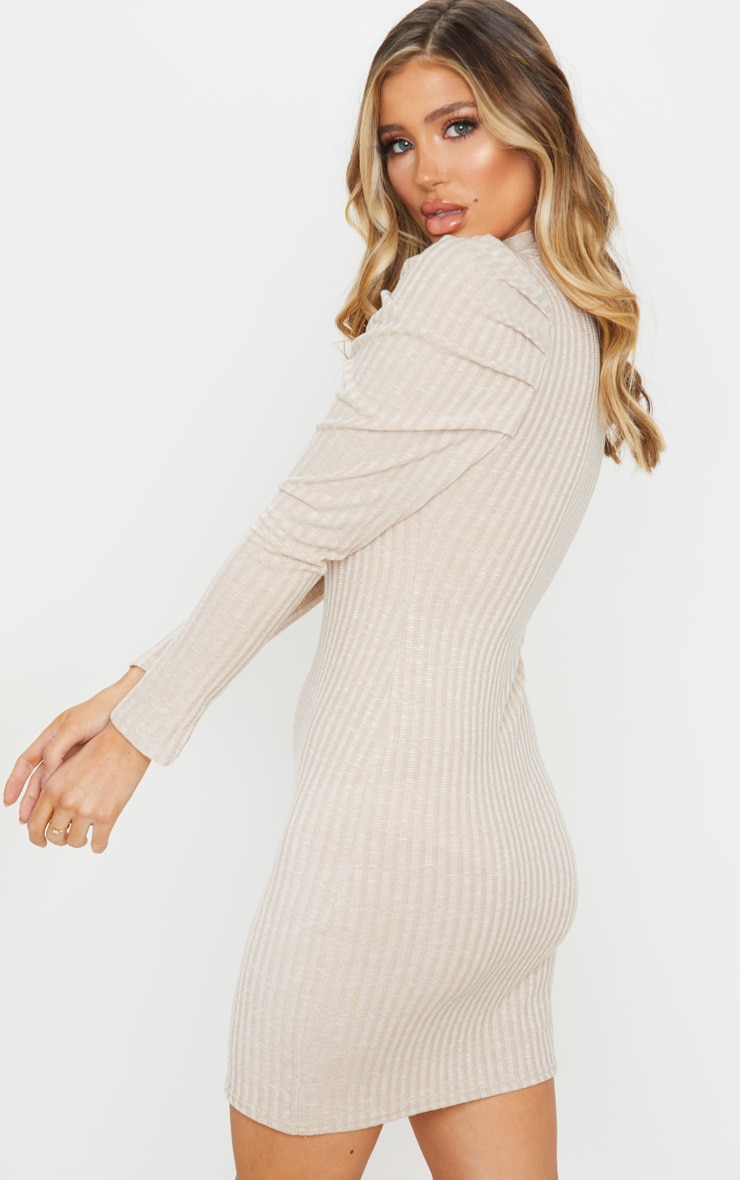 Oatmeal Puff Shoulder Funnel Neck Rib Knitted Dress 2