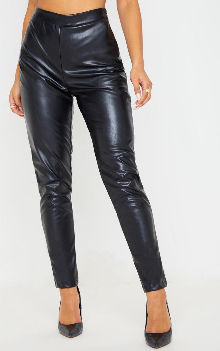 Black PU High Waisted Cigarette Trouser 2