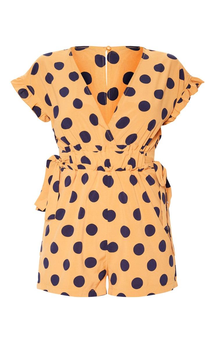 Tangerine Polka Dot Plunge Frill Sleeve Romper 3