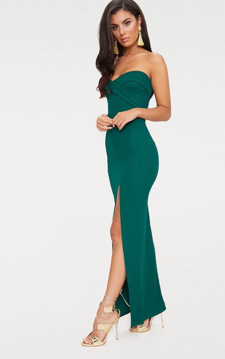 Emerald Green Bandeau Folded Detail Extreme Split Maxi Dress  4