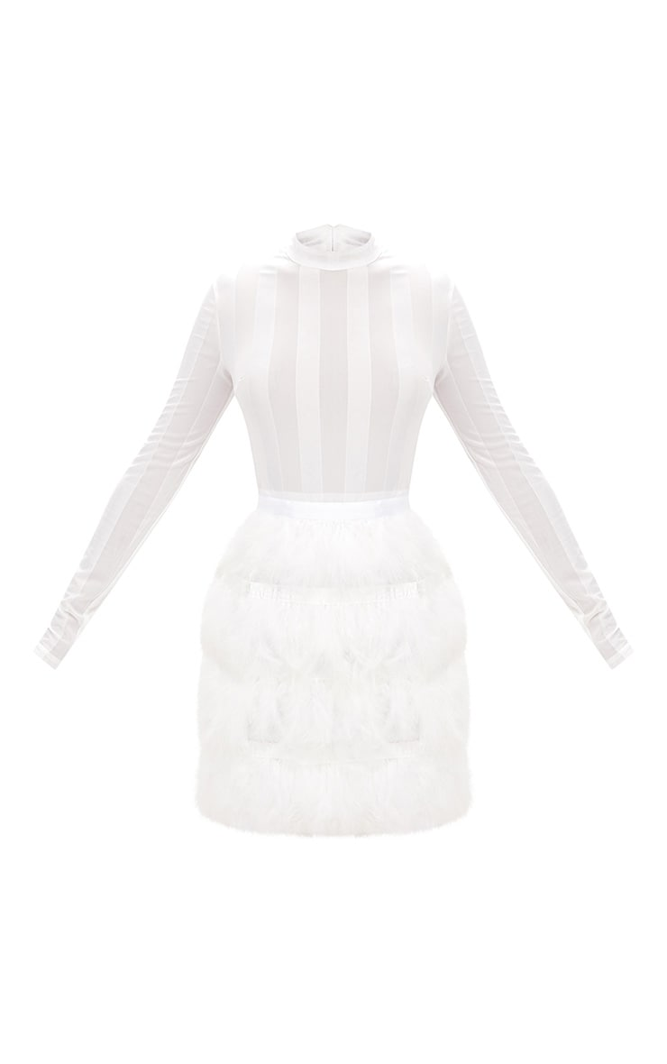 Fawn White Feather Skirt Bodycon Dress 3