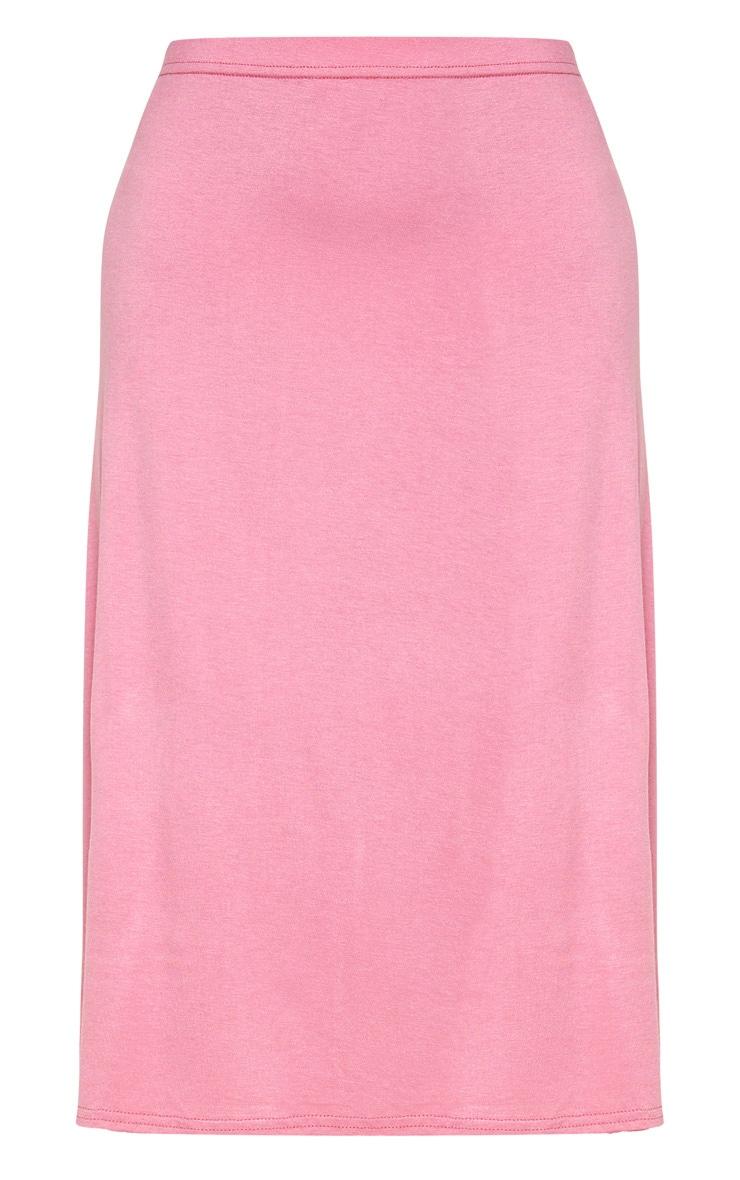 Dusty Pink Basic Jersey Floaty Midi Skirt 3