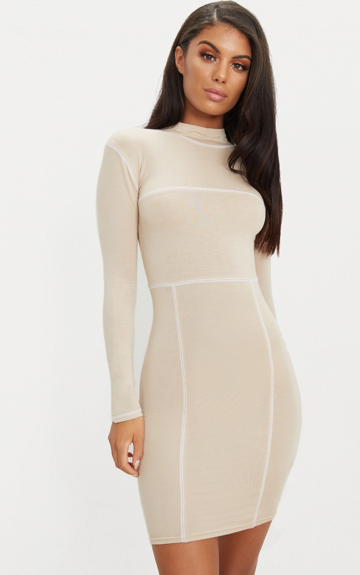 Stone Contrast Stitching Long Sleeve Bodycon Dress 1