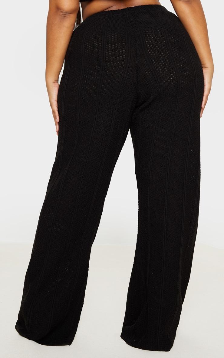 Plus Black Knit Wide Leg Pants 3