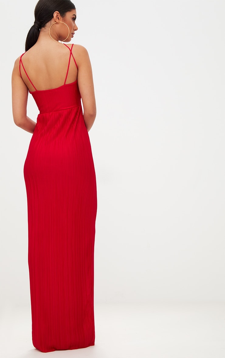 Red Pleated Cross Strap Maxi Dress 2