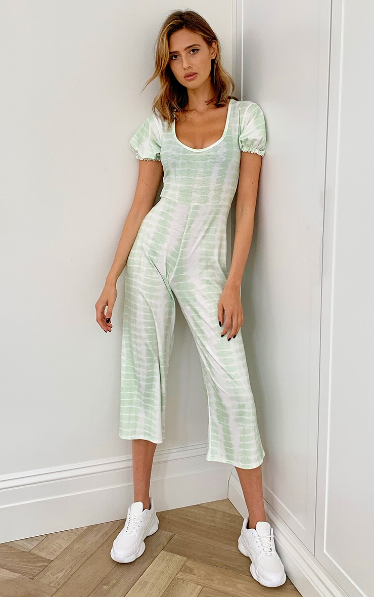 Green Tie Dye Short Puff Sleeve Culotte Jumpsuit 3