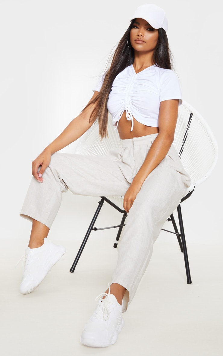 White Cotton Ruched Front T Shirt 4