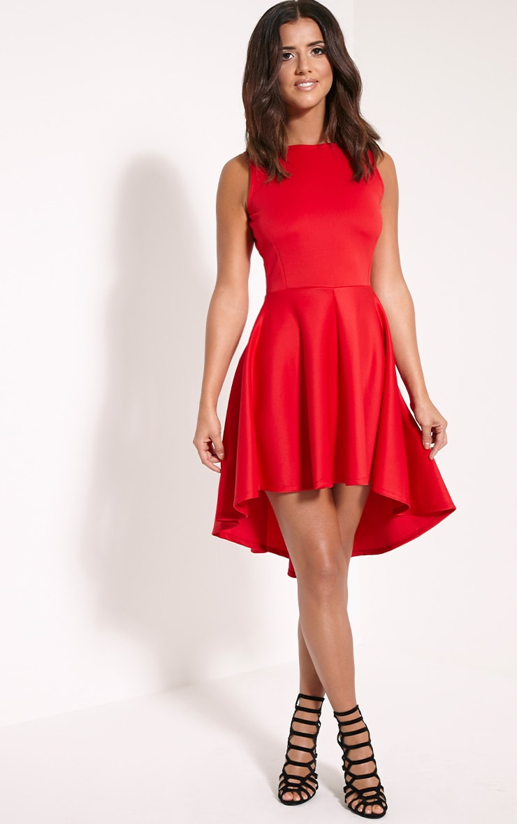Leyla Red Drop Hem Backless Midi Dress 4