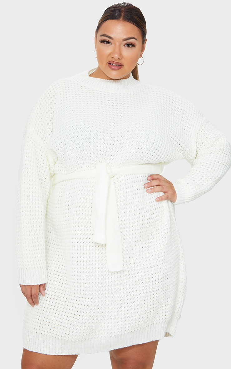 Plus Cream Soft Touch Belted Knitted Jumper Dress 3