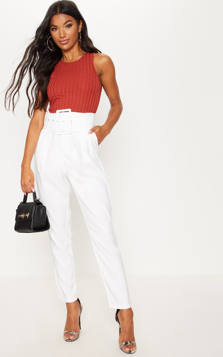 Cream Super High Waisted Belted Tapered Pants 1