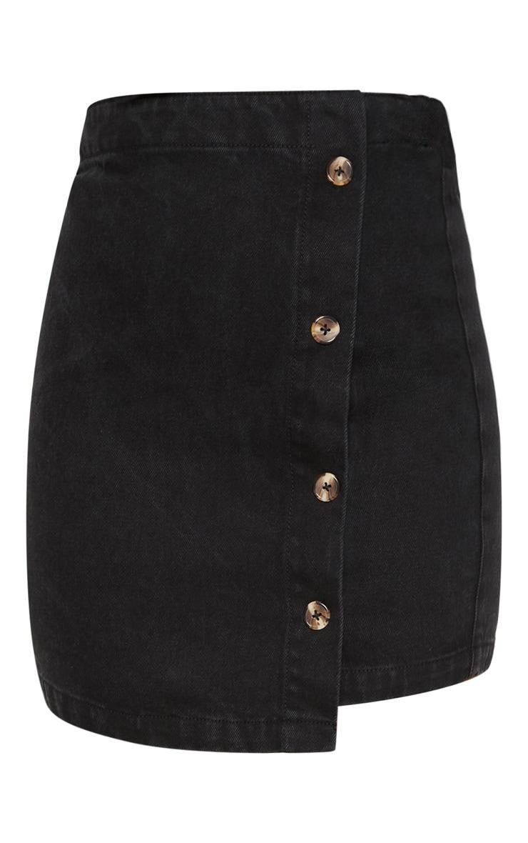 Black Button Through Wrap Skirt  3
