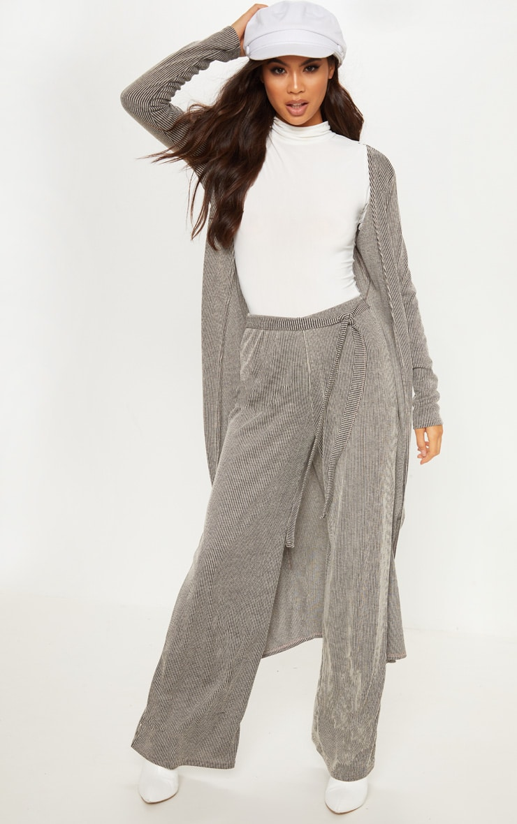 Stone Ribbed Knitted Wide Leg Trouser
