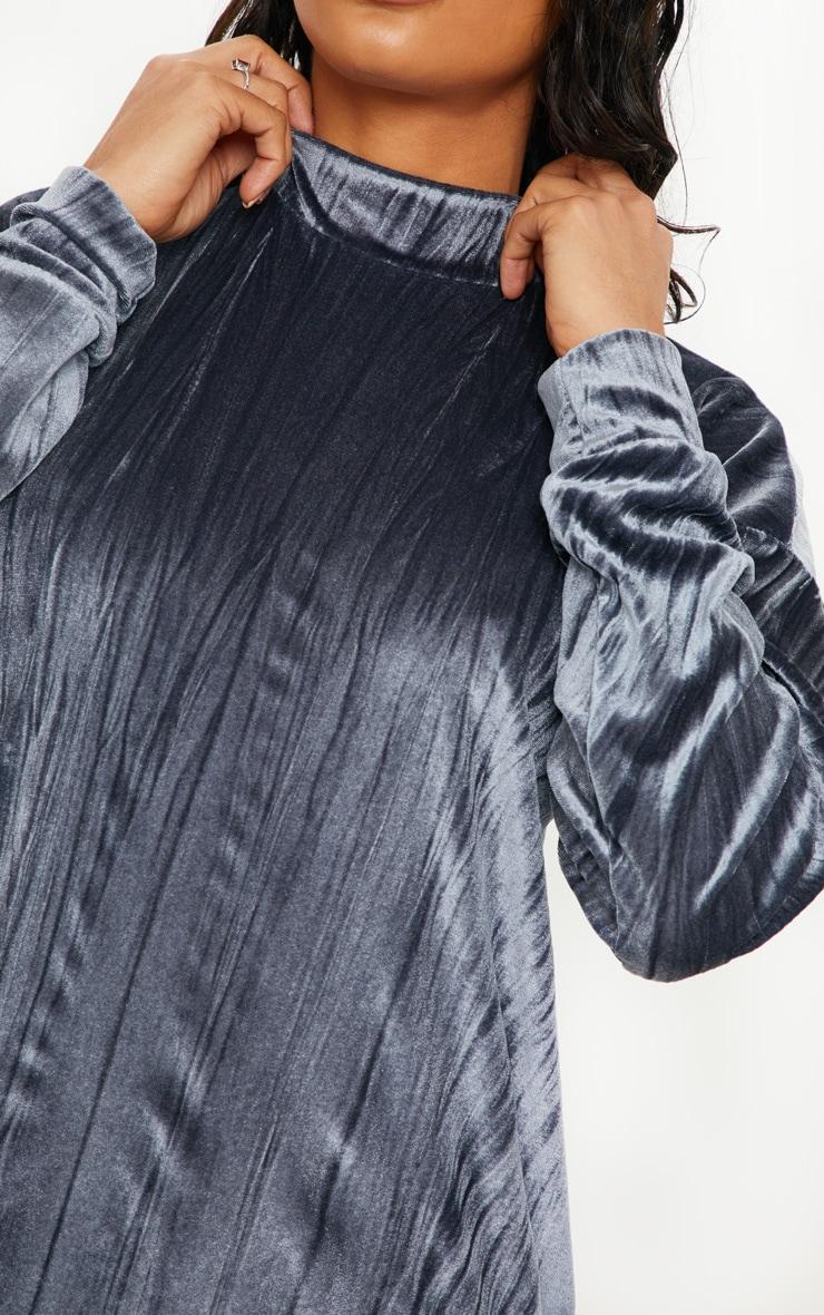 Grey Bamboo Velvet Oversized Jumper Dress 5