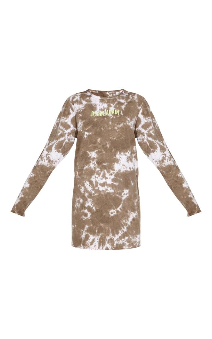 Taupe Begin Again Slogan Acid Wash T Shirt Long Sleeve Dress 3