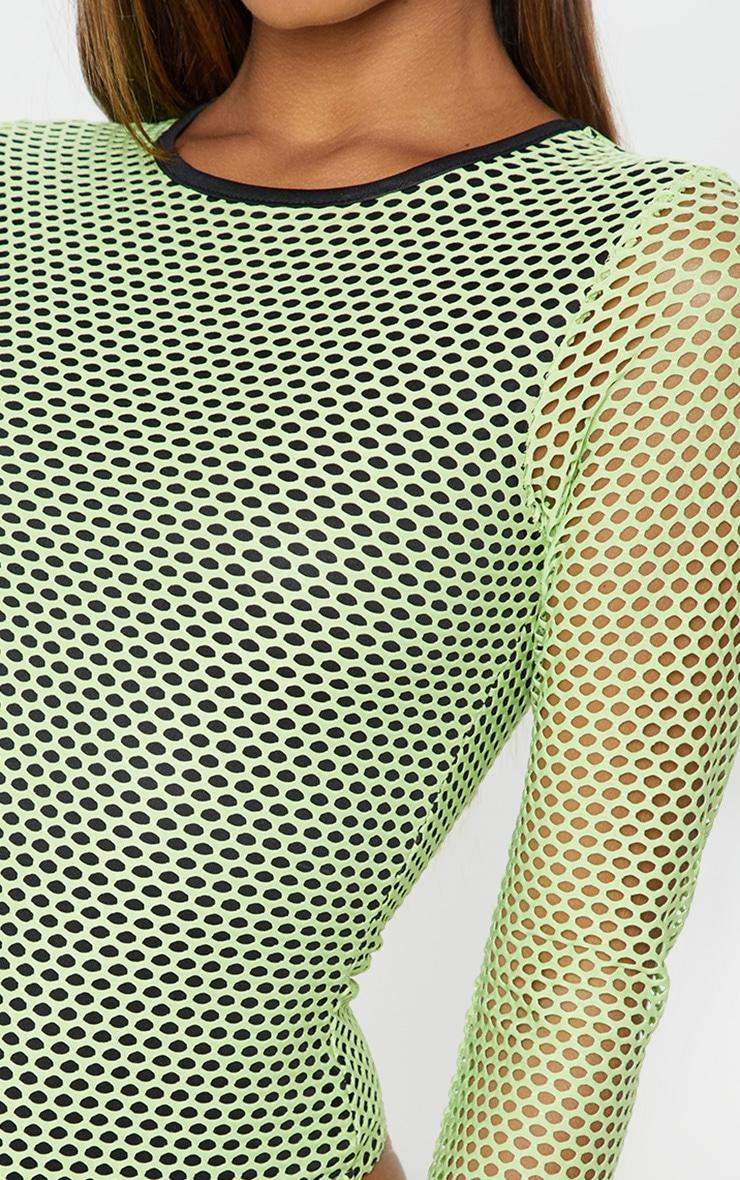 Neon Lime Fishnet Long Sleeve Bodysuit 6