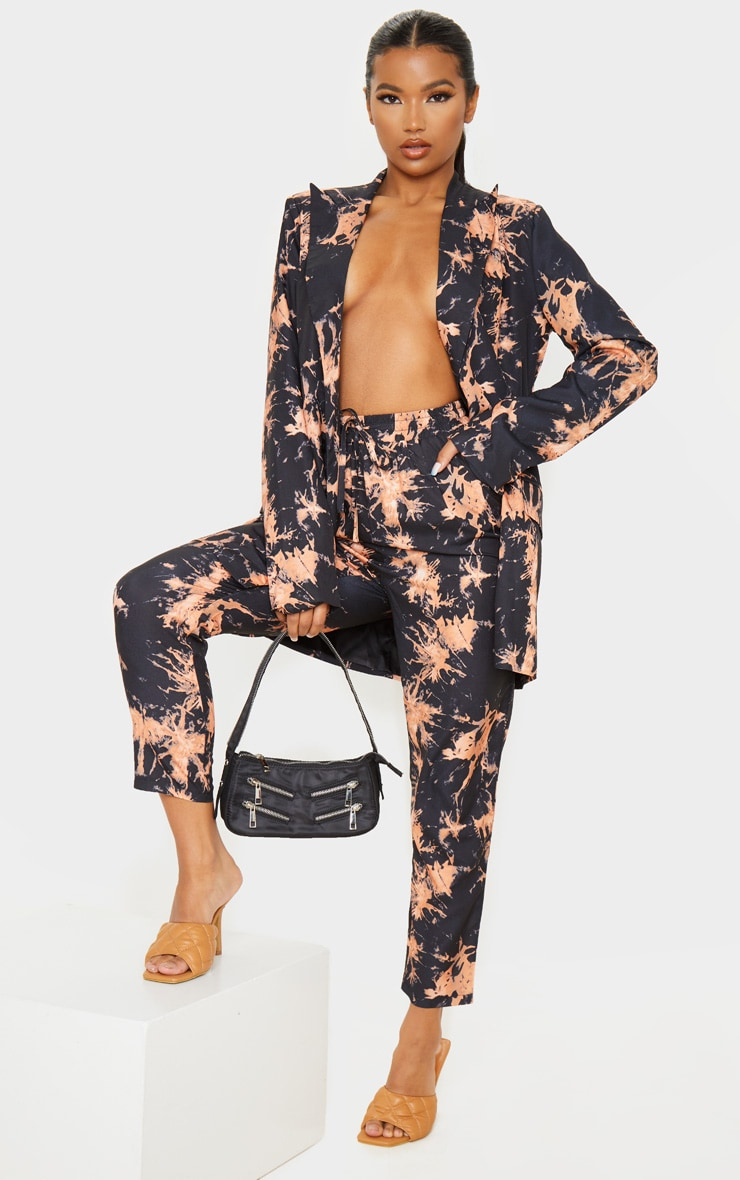 Black Tie Dye Woven High Waisted Straight Leg Pants 6