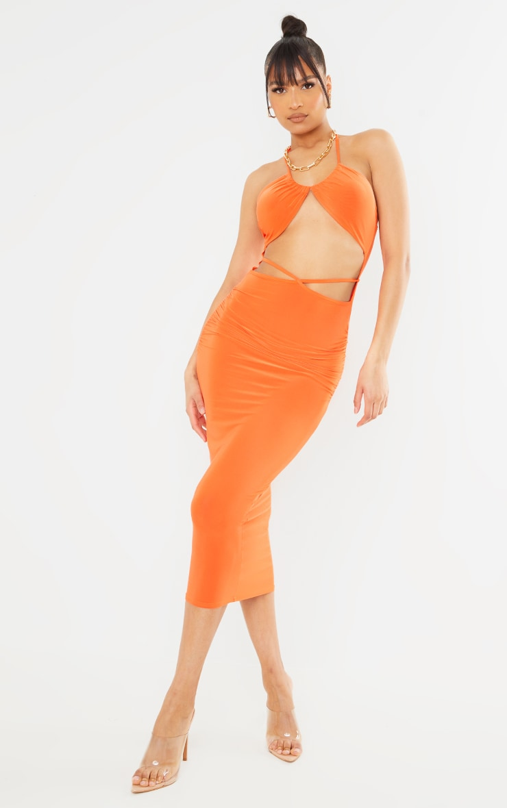 Orange Slinky Halterneck Cut Out Strappy Detail Midaxi Dress 1