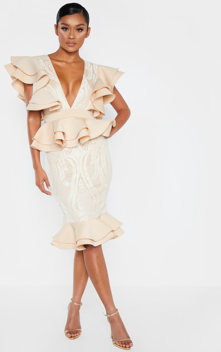 Nude Ruffle Detail Plunge Midi Dress 1