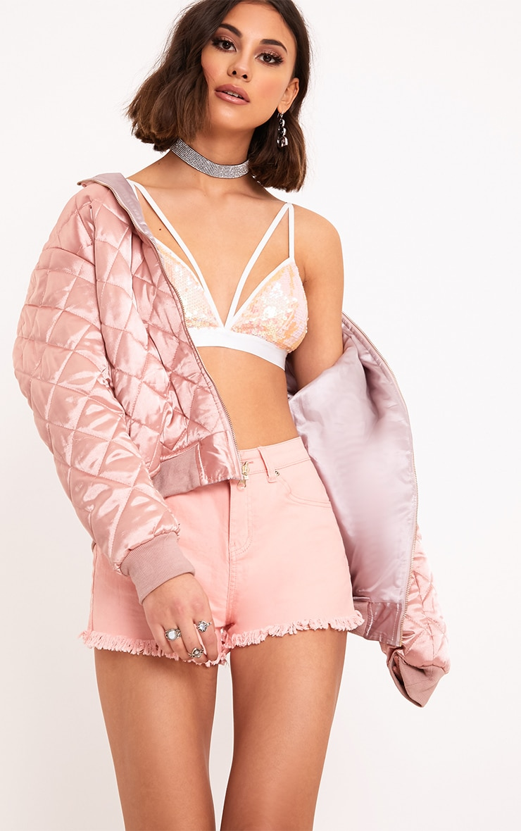 Jaimy White Sequin Harness Triangle Bralet 1