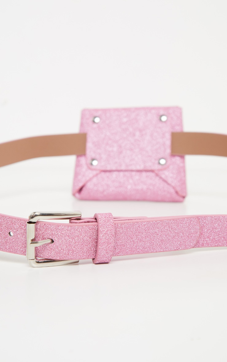 Pink Glitter Mini Pouch Belt Bag 3