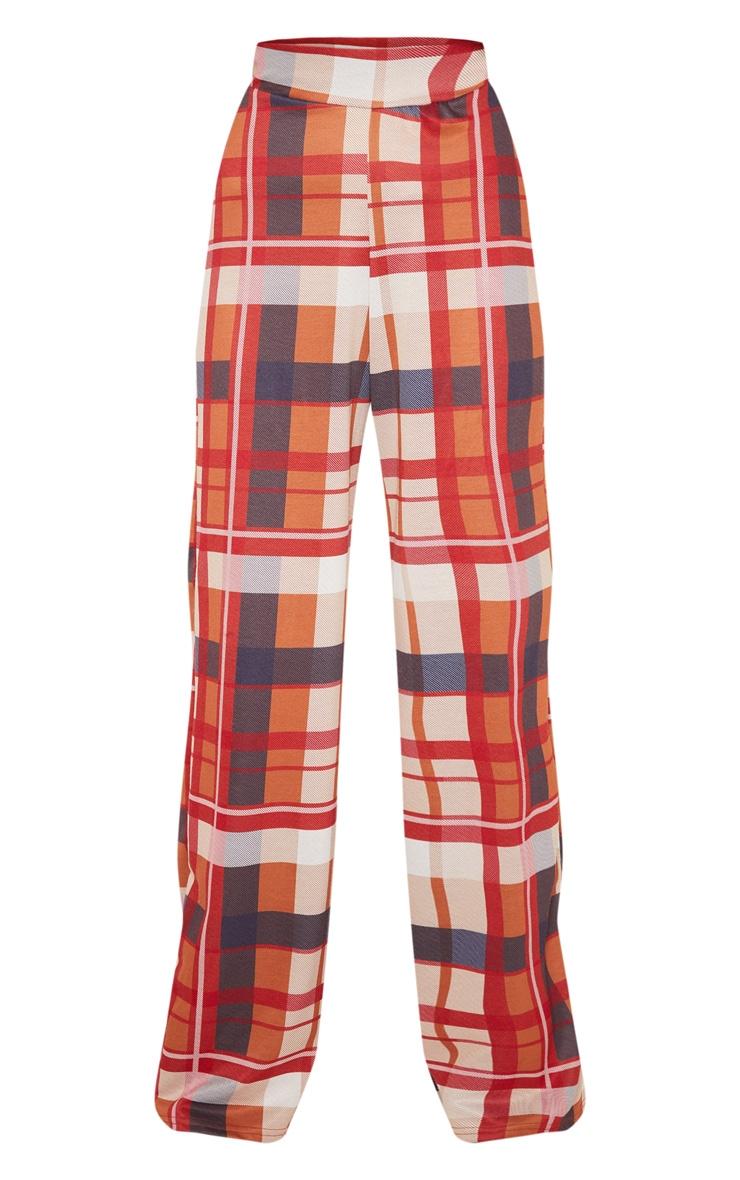 Burnt Orange Jersey Check Wide Leg Trouser 3