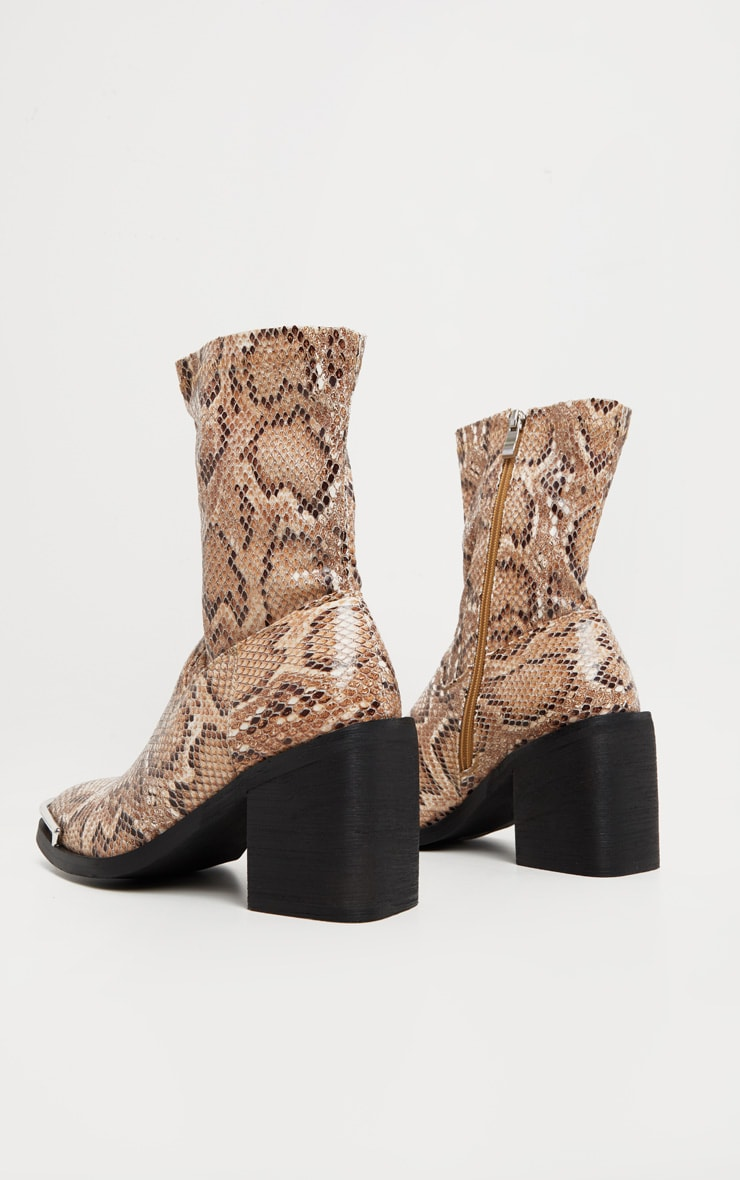 Snake Metal Detail Sock Boot 4