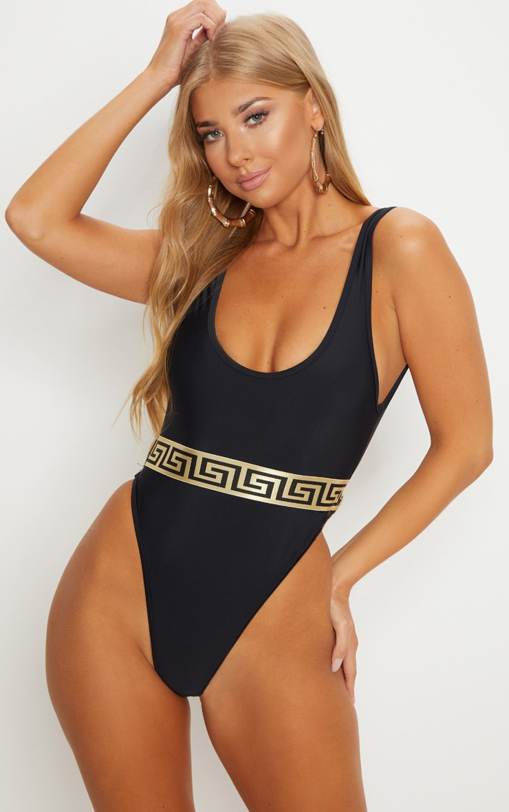 BLACK GREEK KEY BELTED PLUNGE SWIMSUIT