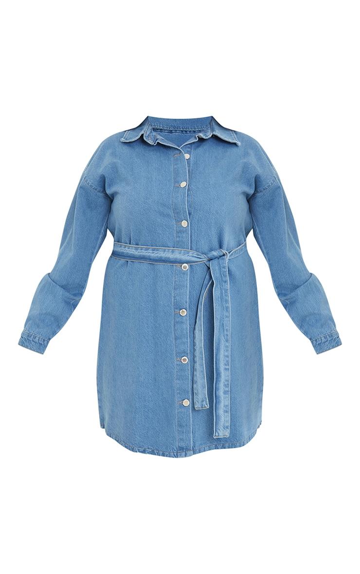 Plus Mid Wash Denim Long Sleeve Button Up Bodycon Dress 5