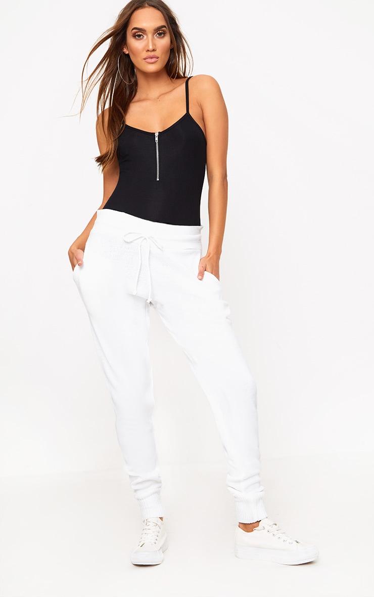 Black Zip Jersey Rib Thong Bodysuit 5